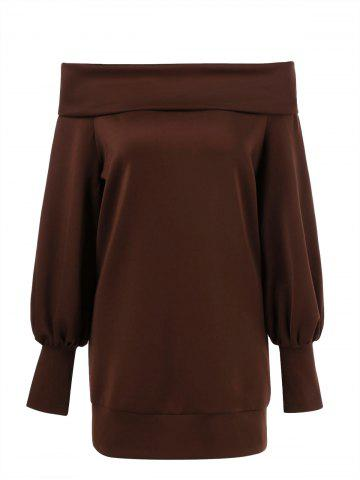Trendy Off The Shoulder Lantern Sleeve T-Shirt BROWN M