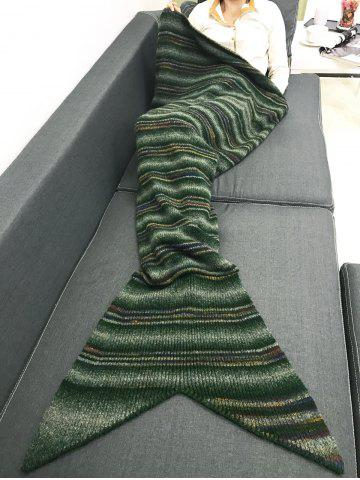 Online Winter Thicken Stripe Throw Bed Mermaid Blanket - BLACKISH GREEN  Mobile