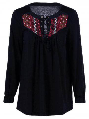 Outfits Lace-Up Embroidery Trim T-Shirt