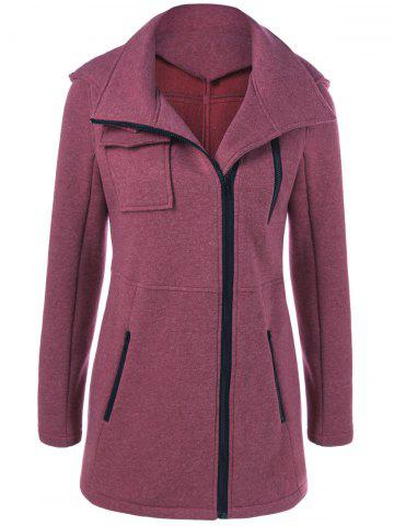 Affordable Flap Pockets Hooded Coat