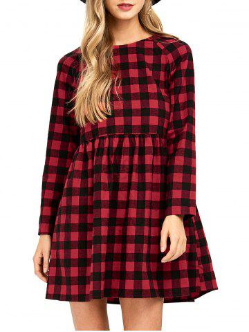 High Waist Plaid Dress - Checked - Xl