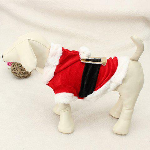 Outfit Merry Christmas Party Supplies Pet Dog Waistcoat Jacket Clothes - XS RED WITH WHITE Mobile