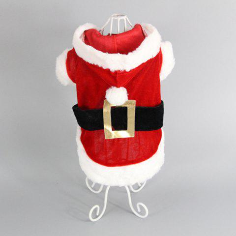 Fashion Merry Christmas Party Supplies Pet Dog Waistcoat Jacket Clothes - XXS RED WITH WHITE Mobile