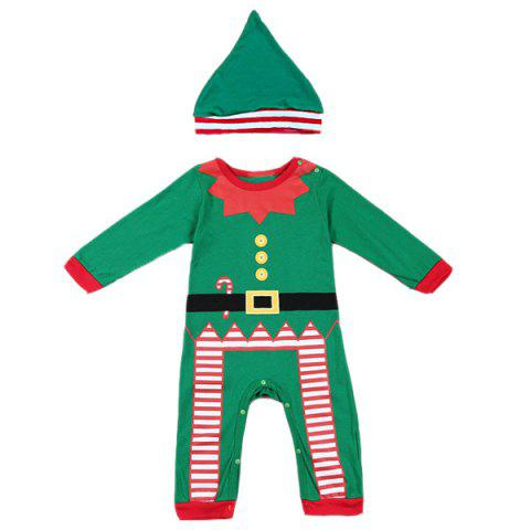 Store Merry Christmas Baby Jumpsuit Clothes Set - L GREEN Mobile