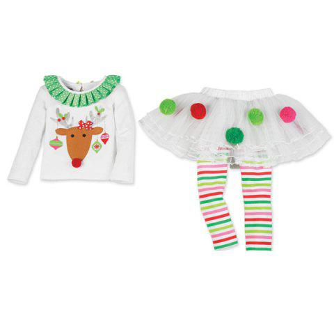 Shop Christmas Elk Pattern Girl Culotte Costume Set - XS WHITE Mobile