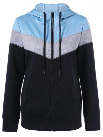 Latest Zip Up Color Block Hoodie