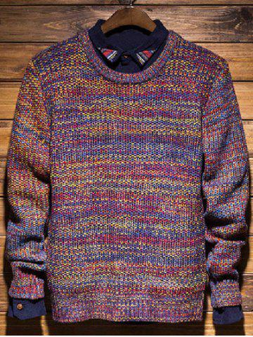 Hot Knit Crew Neck Pullover Sweater COLORMIX XL