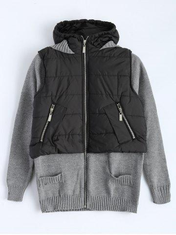 Unique Contrast Knit Padded Jacket
