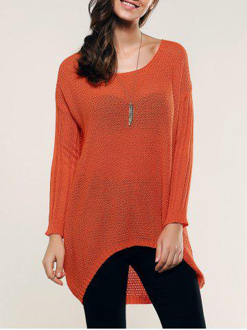 Trendy Hollow Out High Low Knitwear