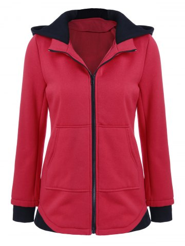Outfits Contrast Trim Hooded Coat