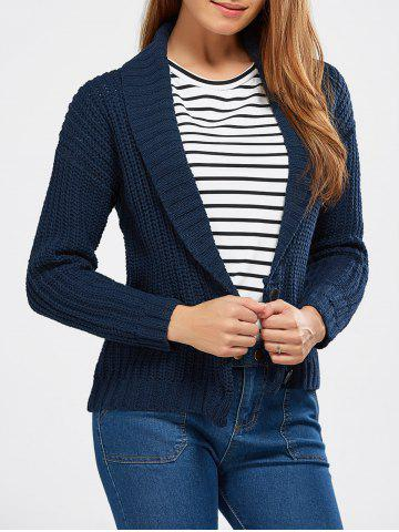 Hot Buttoned Shawl Collar Chunky Sweater DEEP BLUE ONE SIZE