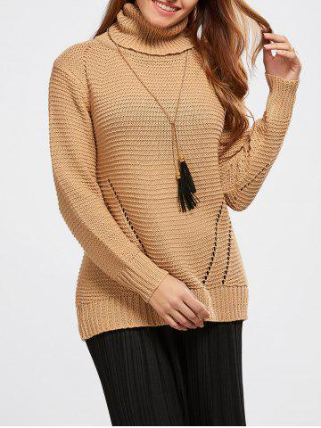Latest Hollow Out Pullover Roll Neck Sweater KHAKI ONE SIZE