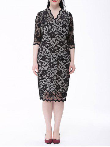 Online Floral Lace Plus Size Sheath Dress WHITE AND BLACK 6XL