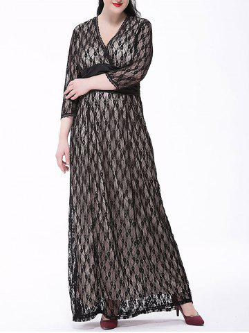 Shops Plus Size Formal Lace Maxi Dress with Sleeves WHITE/BLACK 6XL