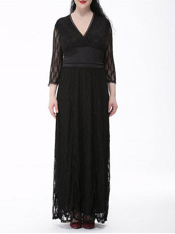 Plus Size Long Formal Party Lace Maxi Dress with Sleeves - Black - 3xl