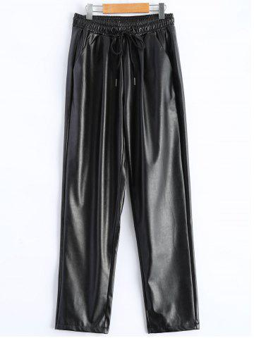 Cheap Plus Size Drawstring PU Leather Tapered Pants