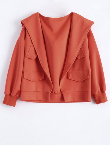 Cheap Plus Size Hooded Open Front Jacket with Pockets