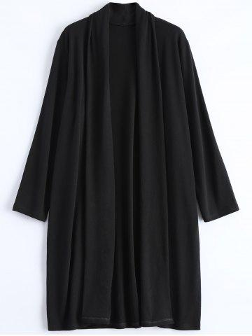 Store Plus Size Collarless Open Front Longline Coat