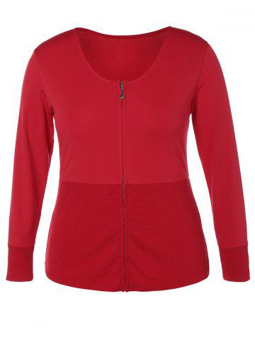 Fashion Plus Size Zip Up Insert Jacket