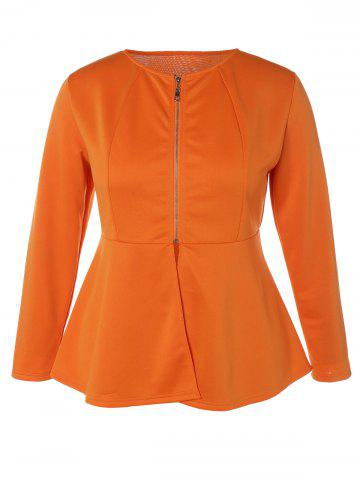 Affordable Zip Up Plus Size Skirted Jacket - XL ORANGE Mobile