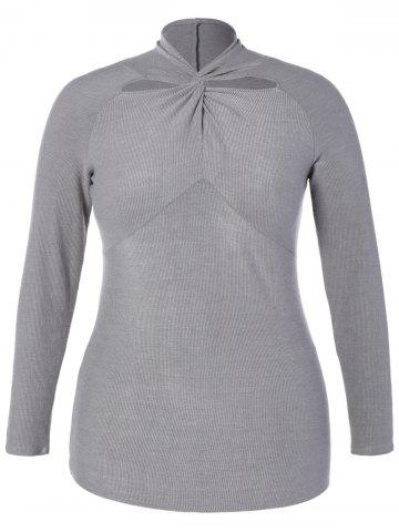 New Plus Size Twist Front Hollow Out Knitwear