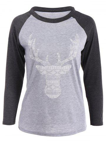 Elk Patterned Raglan Sleeves T-Shirt - Black Grey - S