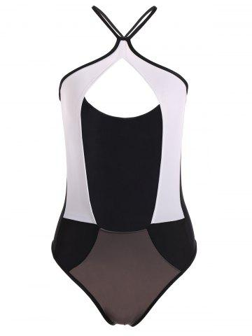 Latest Hollow Out Color Block One-Piece Swimwear