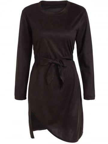 Suede Belted Asymmetrical Dress - Coffee - S