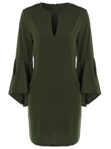 Affordable Bell Sleeve Keyhole Dress ARMY GREEN 2XL
