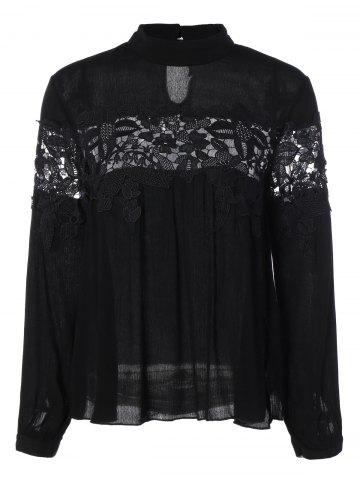 Discount Stand Collar Lace Insert Blouse