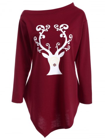Fashion Wapiti Print Asymmetrical Christmas T-Shirt DEEP RED XL