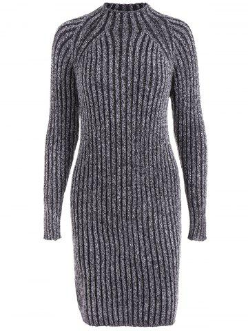 Online Heathered High Neck Ribbed Fitted Jumper Dress BLACK GREY ONE SIZE