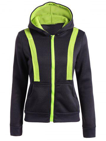 Chic Hooded Contrast Zip Up Jacket