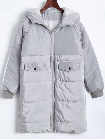 Discount Plus Size Hooded Letter Graphic Puffer Coat
