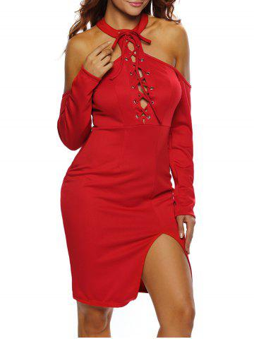Latest Lace Up Cold Shoulder Night Out Dress