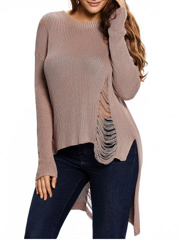 Sale High Low Distressed Long Sweater KHAKI L