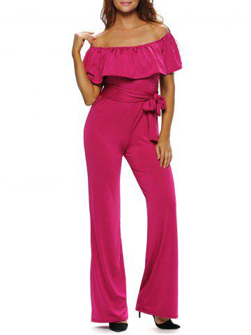 Store Off The Shoulder Wide Leg Belted Ruffle Jumpsuit ROSE RED L