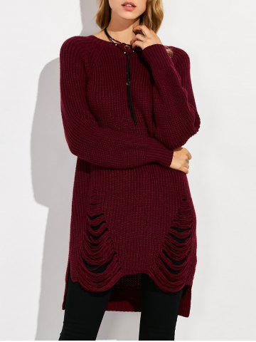 Discount Crew Neck High Low Ripped Sweater WINE RED 2XL