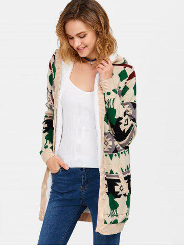 Cheap Hooded Geometry Fleece Cardigan