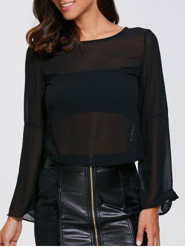 Fashion See-Through Lace Inset Chiffon Blouse