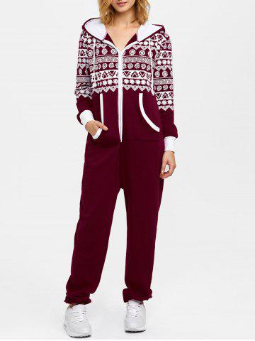 Best Hooded Geometry Print Christmas Jumpsuit WINE RED XL