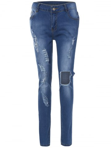 Cheap Patch Design Skinny Ripped Jeans With Pockets