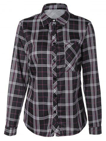 Buy Tartan Long Sleeve Shirt With Front Pocket BLACK 2XL