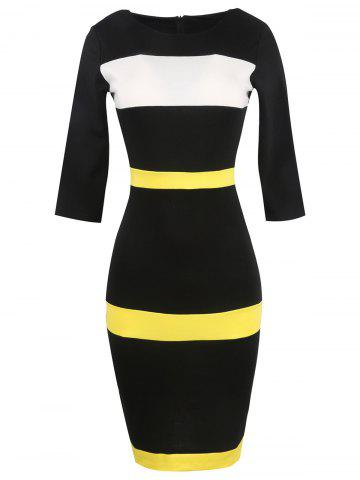 Hot Bandage Bodycon Midi Dress with Sleeves YELLOW 3XL