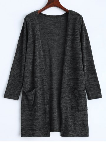 Open Front Knit Duster Cardigan - Deep Gray - One Size