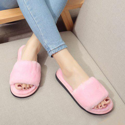 Trendy Faux Fur Slippers PINK 39