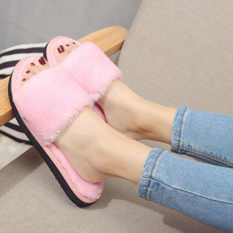 Hot Faux Fur Slippers - PINK 37 Mobile