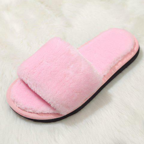 Fashion Faux Fur Slippers - PINK 37 Mobile