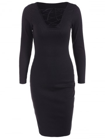 Online Lace Up Ribbed Long Sleeve Dress BLACK XL