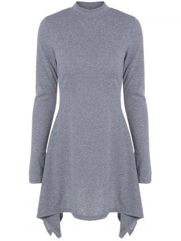Asymmetrical High Neck Long Sleeve Day Dress - Gray - S